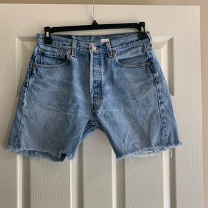 Levi's cut off denim shorts 501